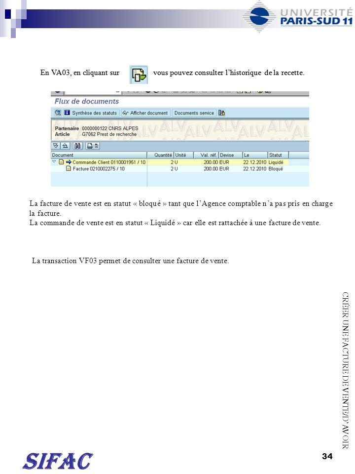 35 TRANSACTION VF02 EDITER UNE FACTURE DE VENTE/DAVOIR Indiquer le n° de la facture de vente/davoir puis ENTREE Lécran ci-dessus saffiche.
