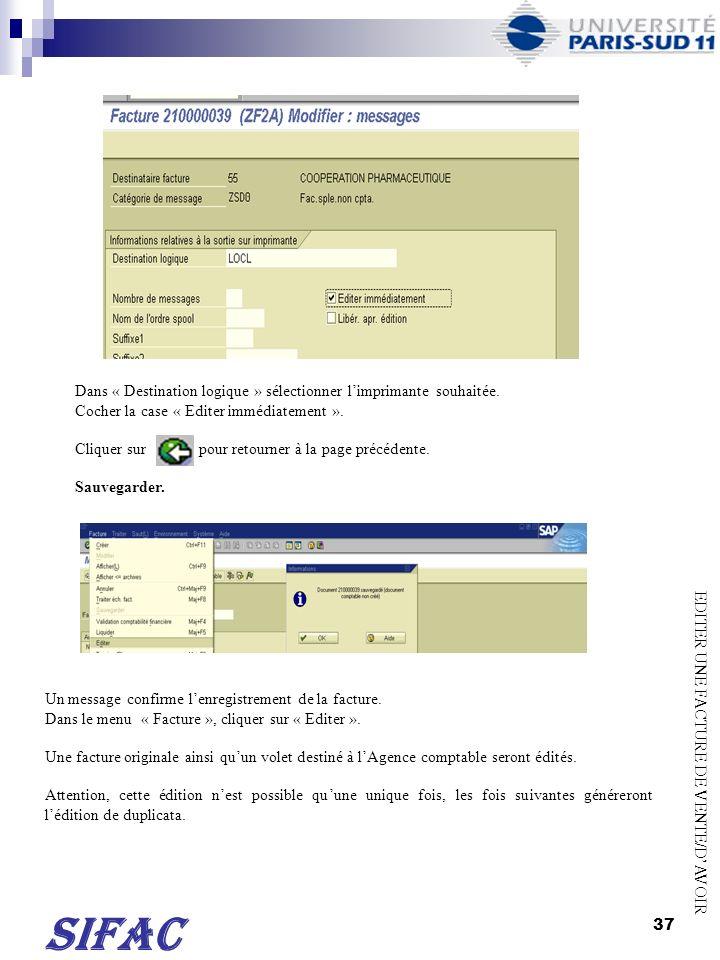 38 TRANSACTION ZREC022 Seule la facture de vente indiquée sur la page précédente saffiche sur le bordereau.