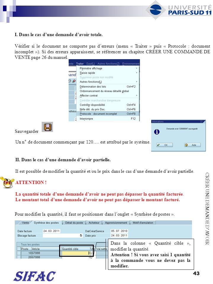 44 SIFAC Pour modifier le montant, il faut double-cliquer sur la ligne de poste concernée.