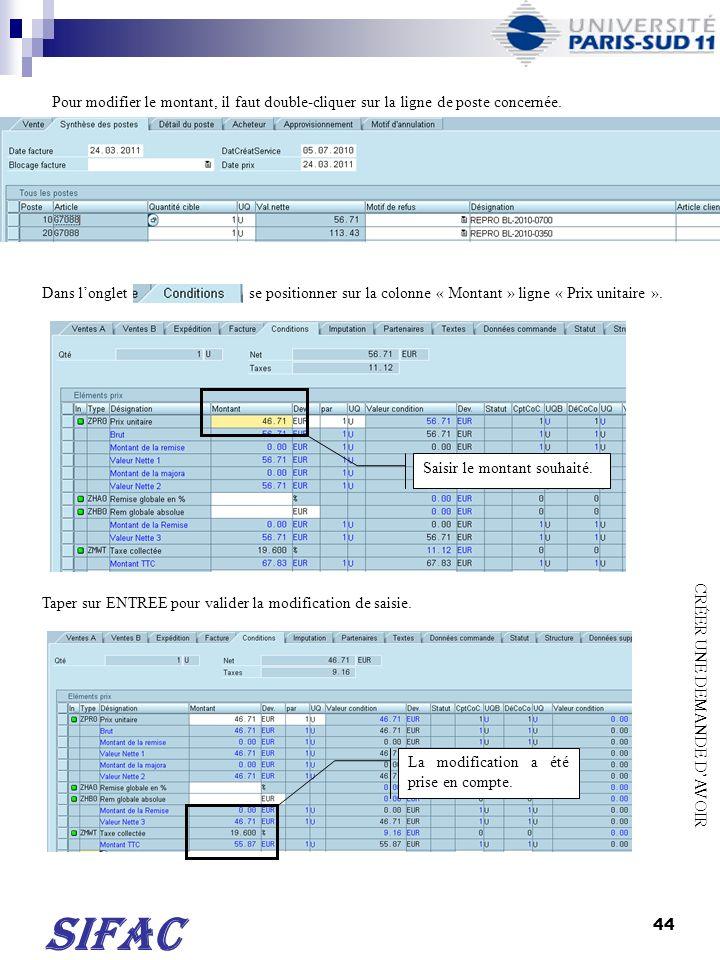 45 SIFAC Vérifier si le document ne comporte pas derreurs (menu « Traiter » puis « Protocole : document incomplet »).