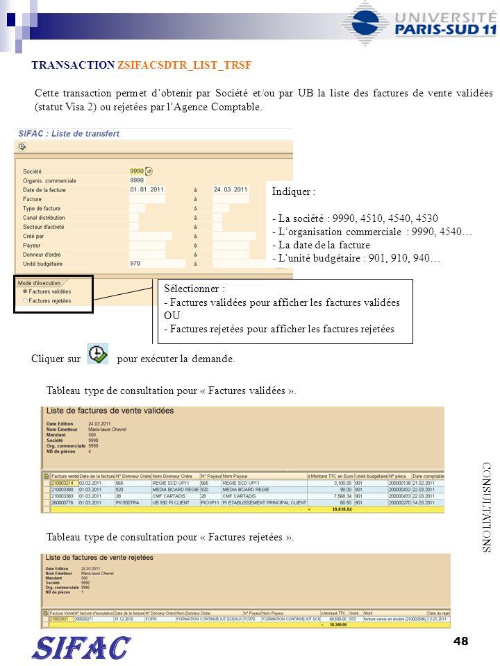 49 SIFAC TRANSACTION FMKFR01 CONSULTATIONS Cliquer sur pour sélectionner une variante.