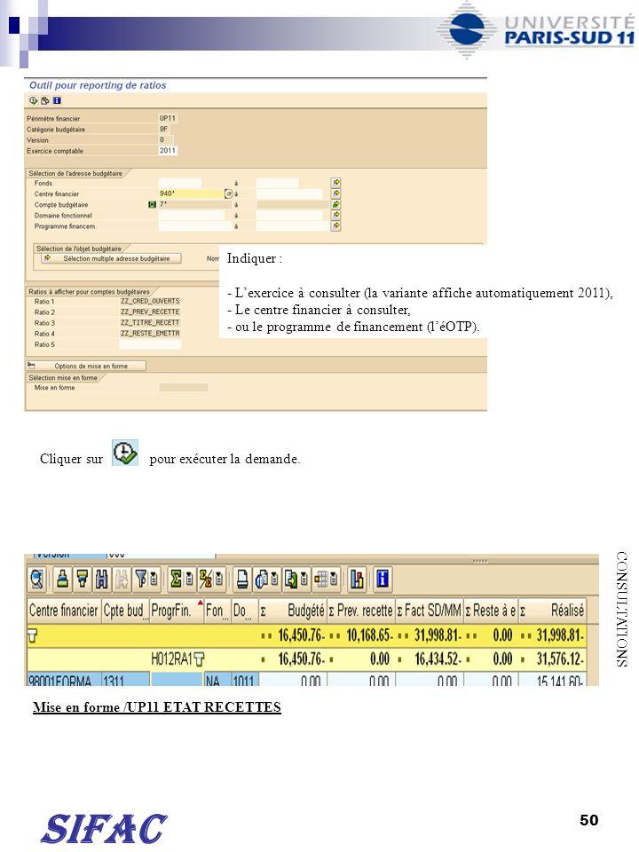 51 SIFAC CONSULTATIONS Sélectionner la mise en forme en cliquant sur puis sur « sélectionner mise en forme… ».