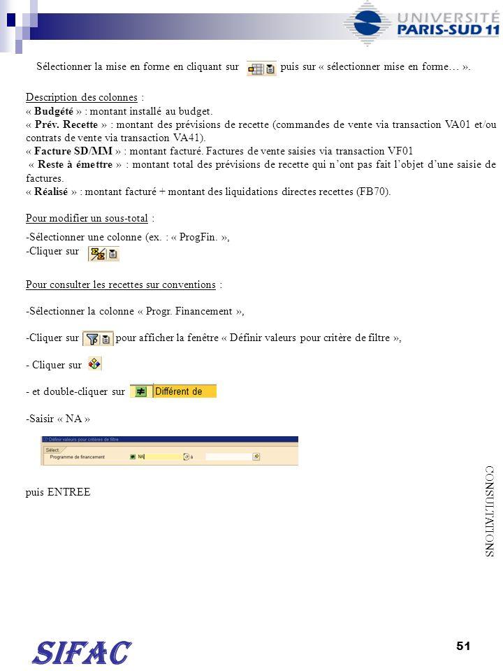 51 SIFAC CONSULTATIONS Sélectionner la mise en forme en cliquant sur puis sur « sélectionner mise en forme… ». Description des colonnes : « Budgété »