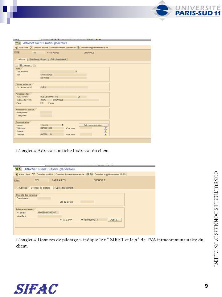 10 Longlet « Opér.de paiement » affiche les coordonnées bancaires du client.