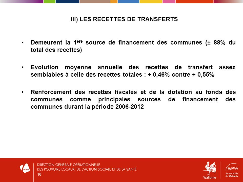 III) LES RECETTES DE TRANSFERTS Demeurent la 1 ère source de financement des communes (± 88% du total des recettes) Evolution moyenne annuelle des rec
