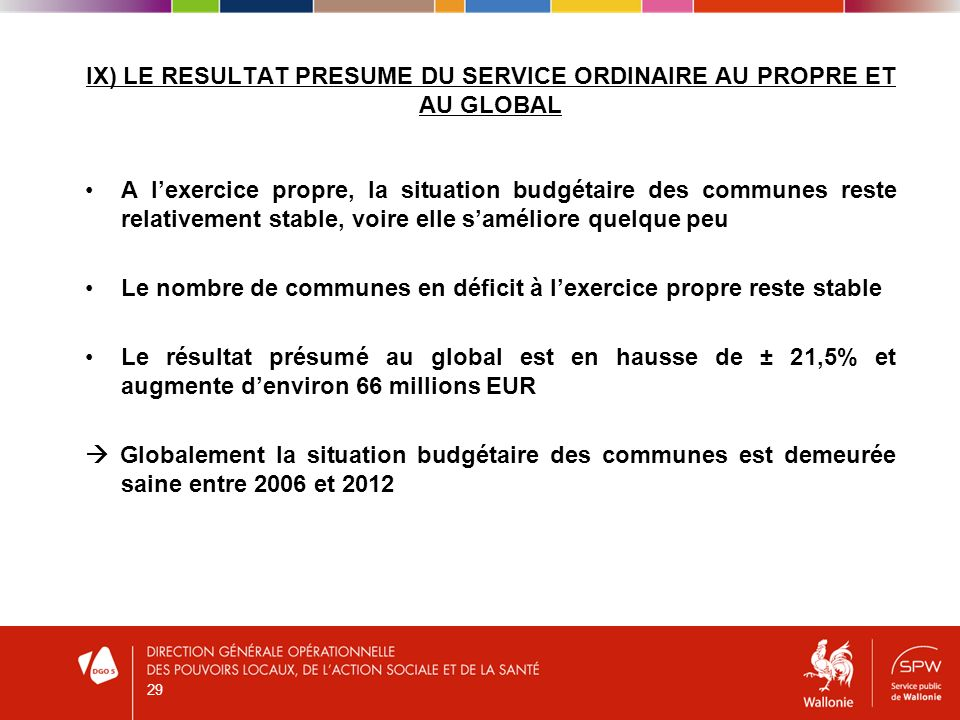 IX) LE RESULTAT PRESUME DU SERVICE ORDINAIRE AU PROPRE ET AU GLOBAL 29 A lexercice propre, la situation budgétaire des communes reste relativement sta