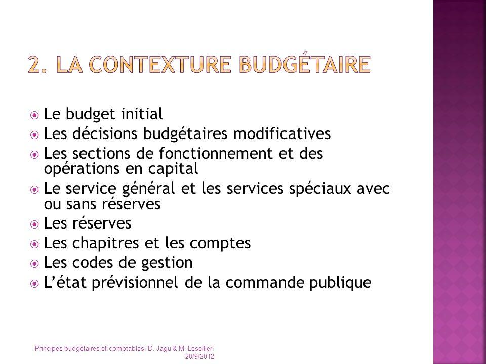 Le budget initial Les décisions budgétaires modificatives Les sections de fonctionnement et des opérations en capital Le service général et les servic