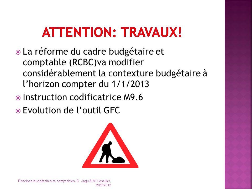La réforme du cadre budgétaire et comptable (RCBC)va modifier considérablement la contexture budgétaire à lhorizon compter du 1/1/2013 Instruction cod