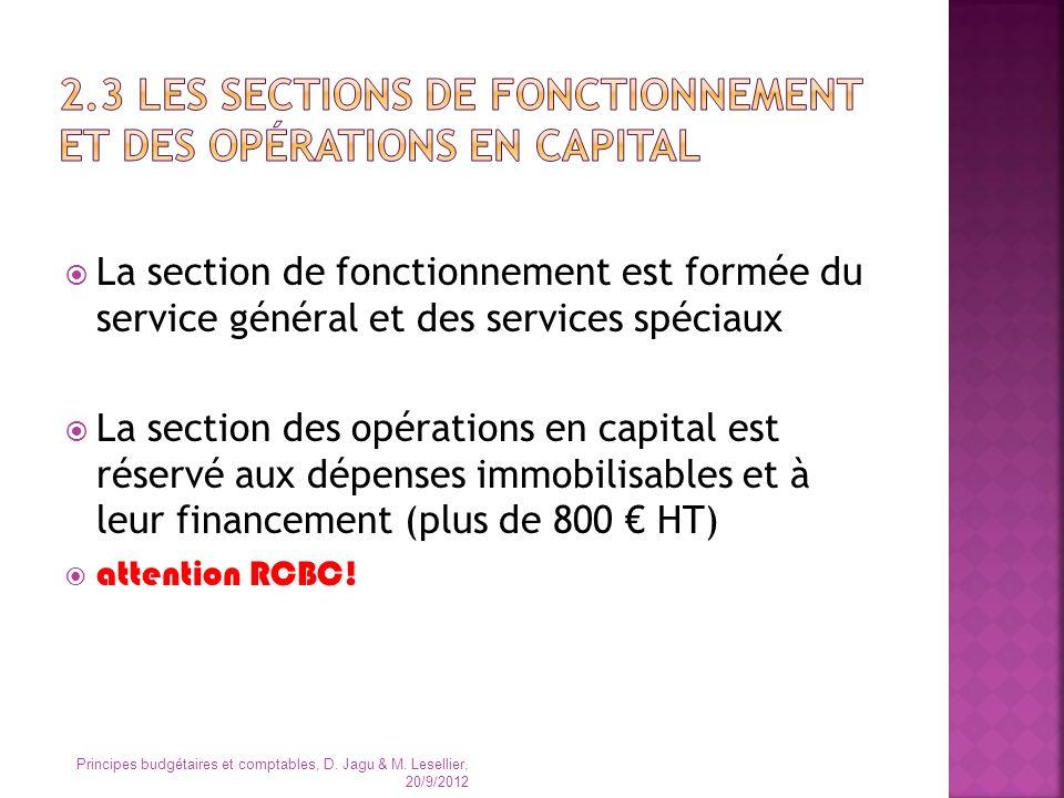 La section de fonctionnement est formée du service général et des services spéciaux La section des opérations en capital est réservé aux dépenses immo
