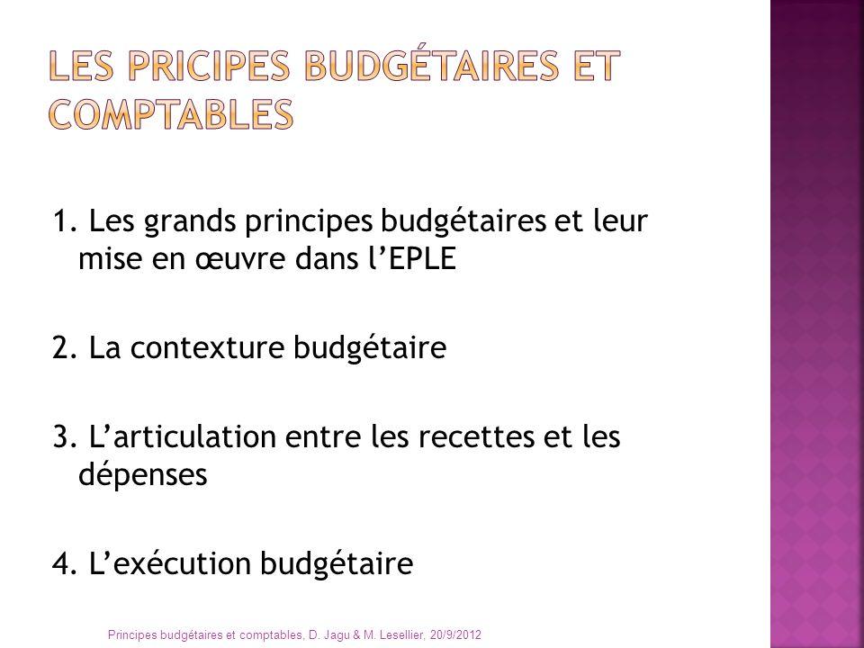 1. Les grands principes budgétaires et leur mise en œuvre dans lEPLE 2. La contexture budgétaire 3. Larticulation entre les recettes et les dépenses 4