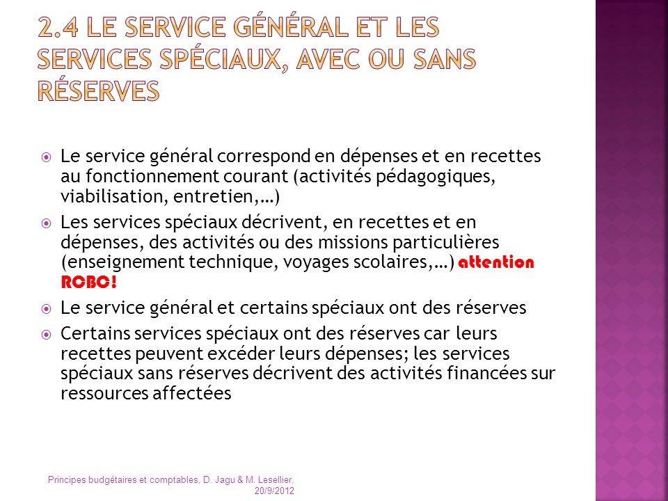 Le service général correspond en dépenses et en recettes au fonctionnement courant (activités pédagogiques, viabilisation, entretien,…) Les services s