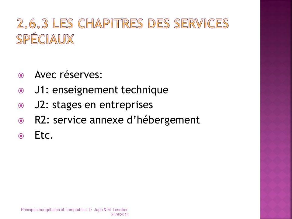 Avec réserves: J1: enseignement technique J2: stages en entreprises R2: service annexe dhébergement Etc. Principes budgétaires et comptables, D. Jagu