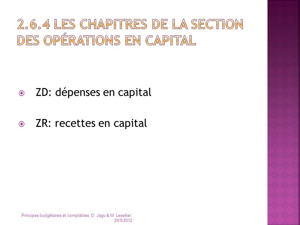 ZD: dépenses en capital ZR: recettes en capital Principes budgétaires et comptables, D. Jagu & M. Lesellier, 20/9/2012