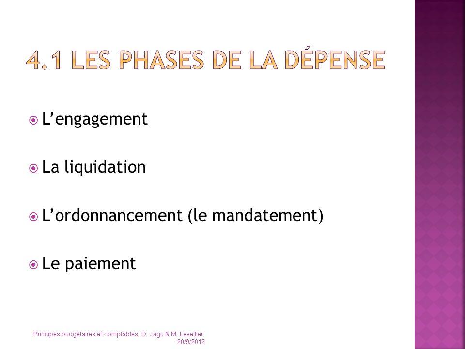 Lengagement La liquidation Lordonnancement (le mandatement) Le paiement Principes budgétaires et comptables, D. Jagu & M. Lesellier, 20/9/2012
