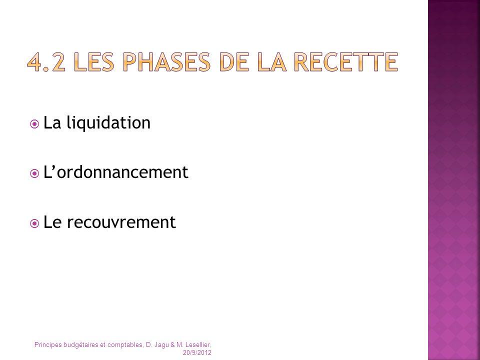 La liquidation Lordonnancement Le recouvrement Principes budgétaires et comptables, D. Jagu & M. Lesellier, 20/9/2012