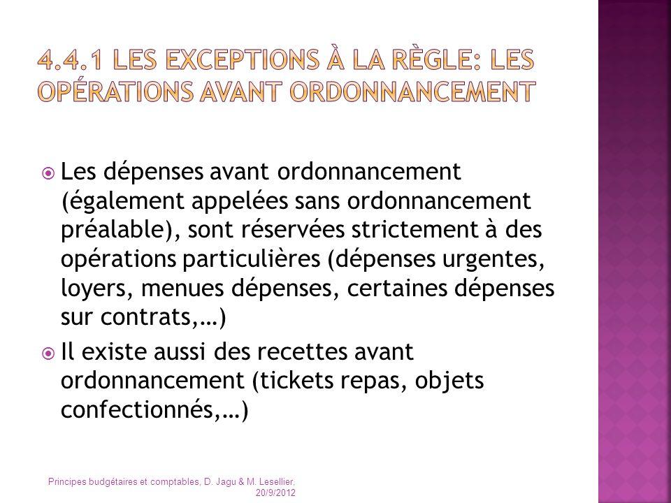 Les dépenses avant ordonnancement (également appelées sans ordonnancement préalable), sont réservées strictement à des opérations particulières (dépen