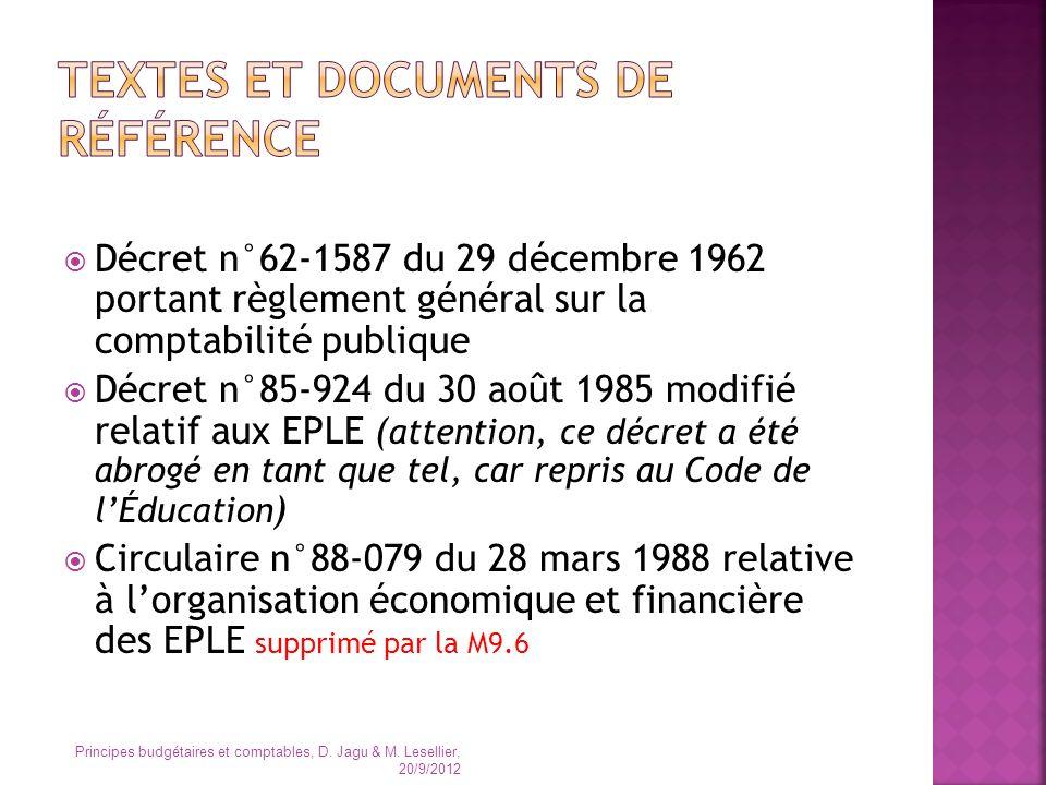 Décret n°62-1587 du 29 décembre 1962 portant règlement général sur la comptabilité publique Décret n°85-924 du 30 août 1985 modifié relatif aux EPLE (
