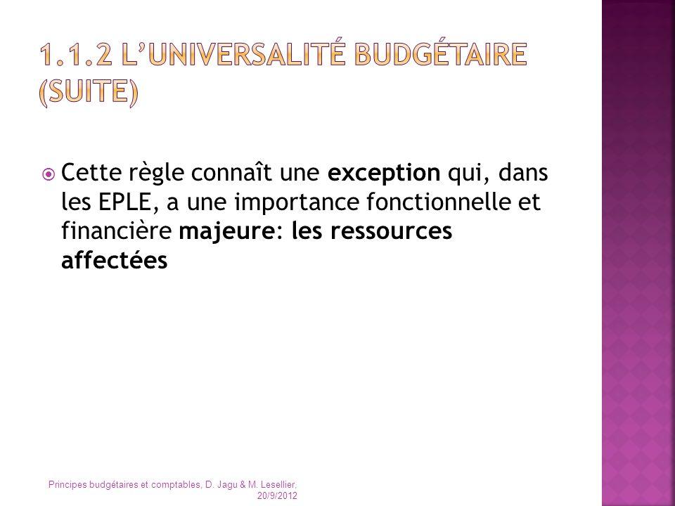 Cette règle connaît une exception qui, dans les EPLE, a une importance fonctionnelle et financière majeure: les ressources affectées Principes budgéta