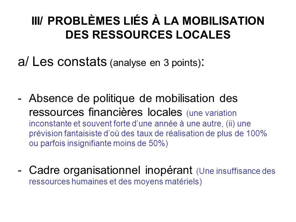 III/ PROBLÈMES LIÉS À LA MOBILISATION DES RESSOURCES LOCALES a/ Les constats (analyse en 3 points) : -Absence de politique de mobilisation des ressour