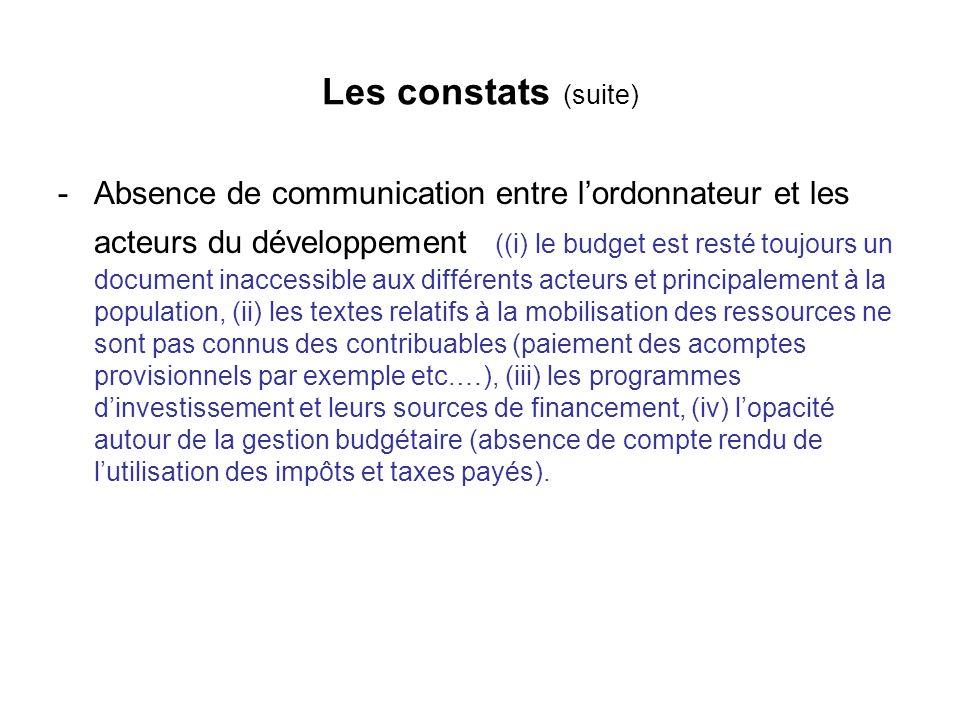 Les constats (suite) -Absence de communication entre lordonnateur et les acteurs du développement ((i) le budget est resté toujours un document inacce