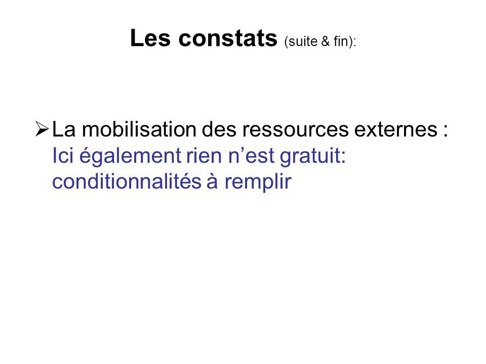 Les constats (suite & fin): La mobilisation des ressources externes : Ici également rien nest gratuit: conditionnalités à remplir