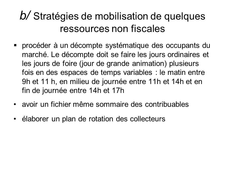 b/ Stratégies de mobilisation de quelques ressources non fiscales procéder à un décompte systématique des occupants du marché. Le décompte doit se fai