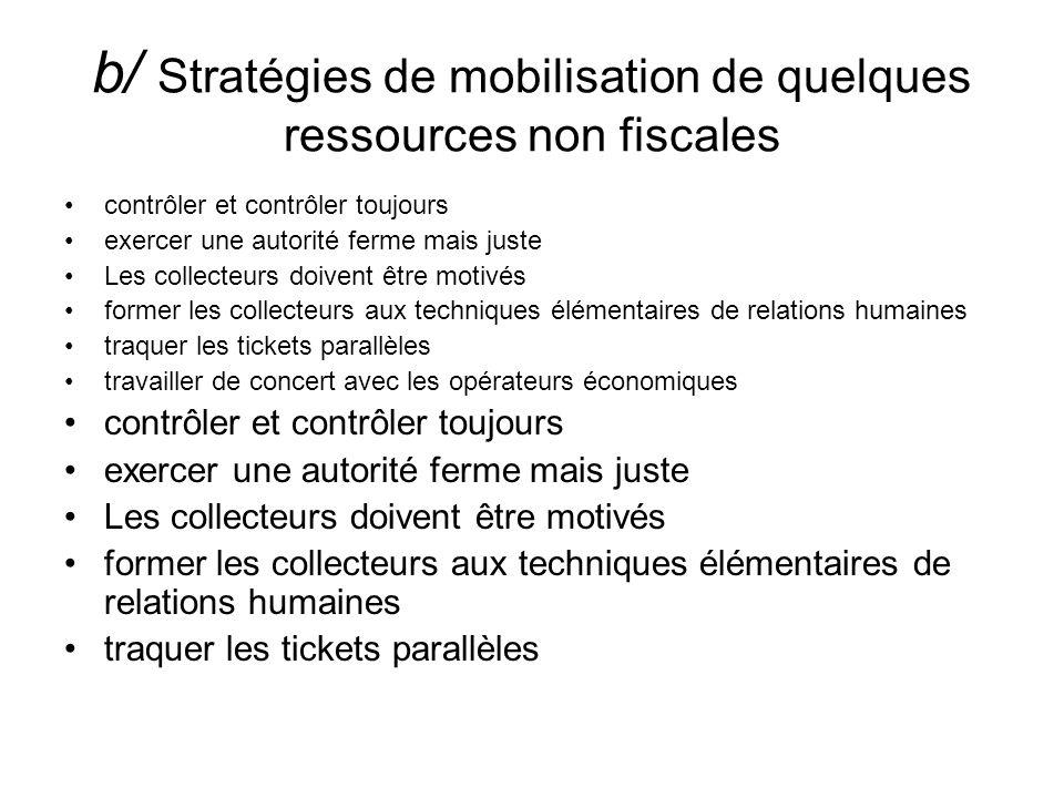 b/ Stratégies de mobilisation de quelques ressources non fiscales contrôler et contrôler toujours exercer une autorité ferme mais juste Les collecteur