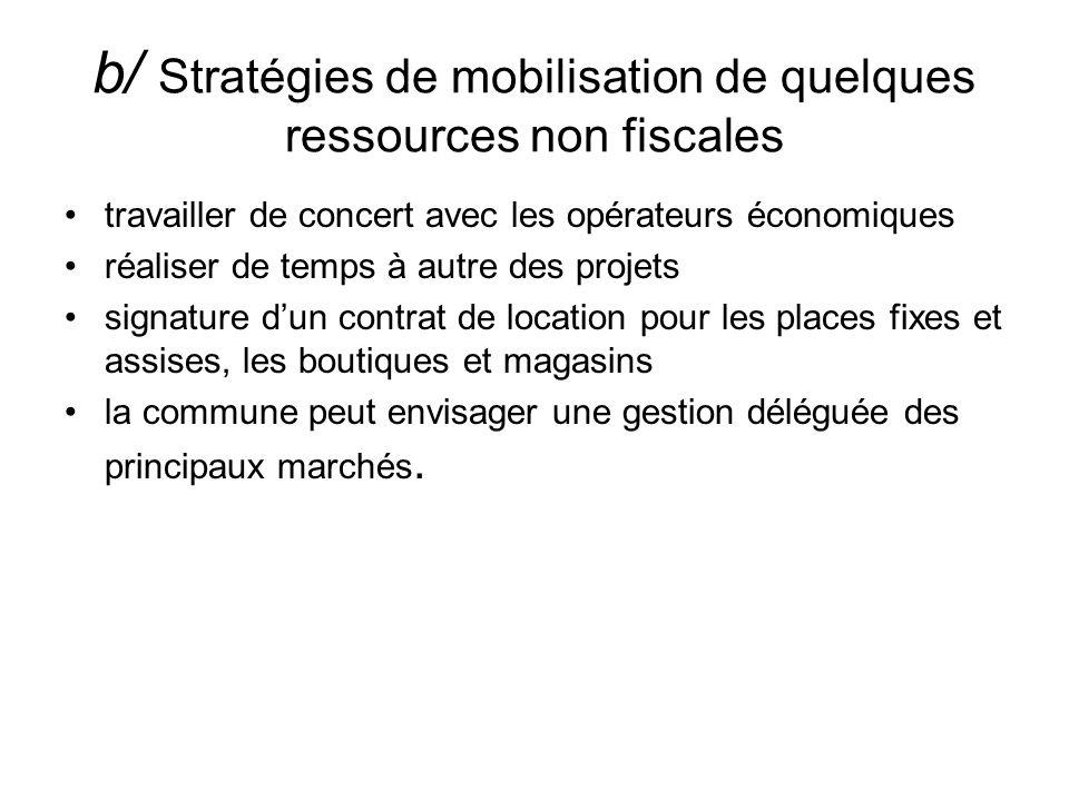 b/ Stratégies de mobilisation de quelques ressources non fiscales travailler de concert avec les opérateurs économiques réaliser de temps à autre des