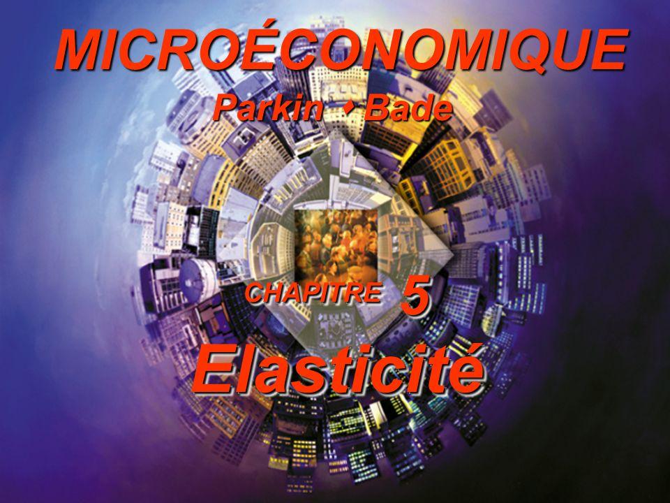 5-1 Introduction à la microéconomique Lélasticité Chapitre 5 Parkin Bade MICROÉCONOMIQUE CHAPITRE 5 Elasticité Parkin Bade MICROÉCONOMIQUE