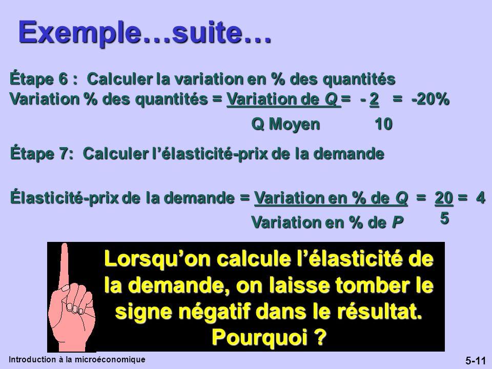 5-11 Introduction à la microéconomiqueExemple…suite… Étape 6 : Calculer la variation en % des quantités Variation % des quantités = Variation de Q = -