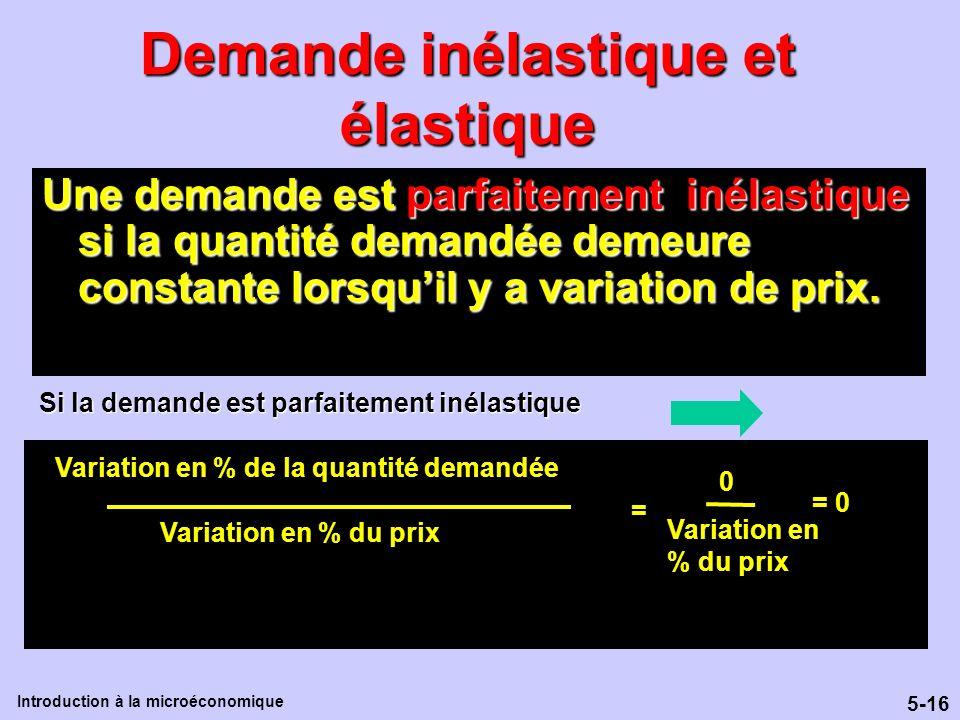 5-16 Introduction à la microéconomique Demande inélastique et élastique Une demande est parfaitement inélastique si la quantité demandée demeure const