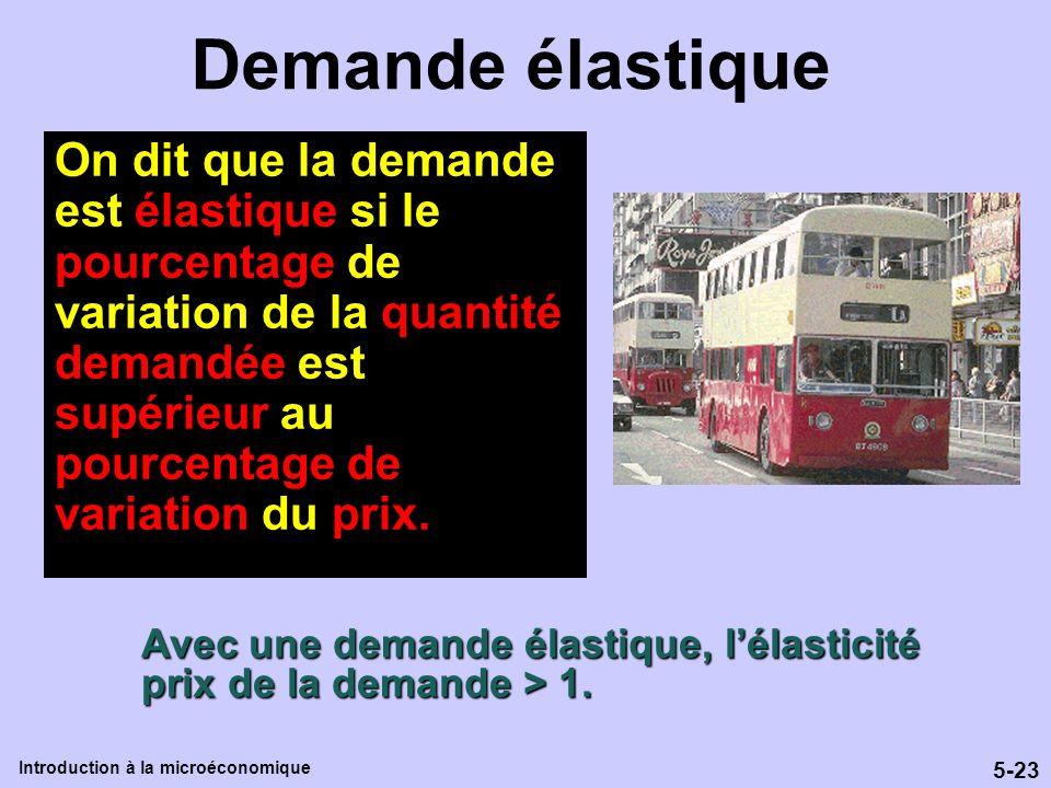 5-23 Introduction à la microéconomique Demande élastique Avec une demande élastique, lélasticité prix de la demande > 1. On dit que la demande est éla