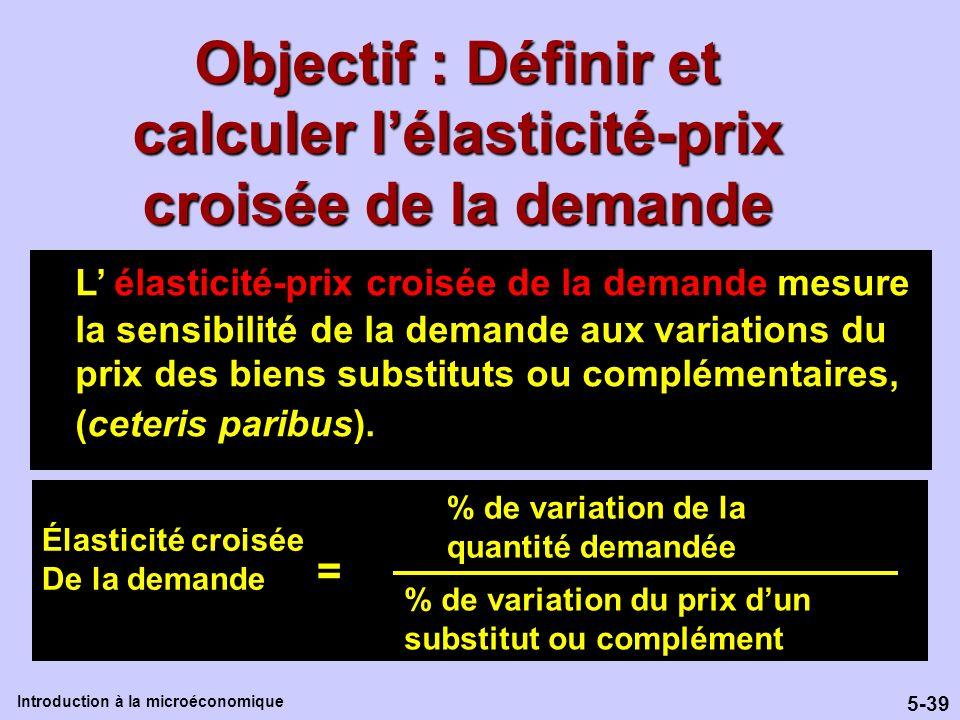 5-39 Introduction à la microéconomique Objectif : Définir et calculer lélasticité-prix croisée de la demande L élasticité-prix croisée de la demande m
