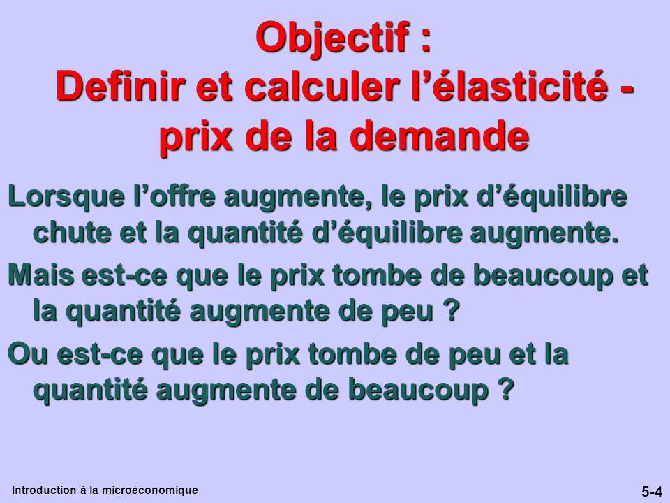 5-4 Introduction à la microéconomique Objectif : Definir et calculer lélasticité - prix de la demande Lorsque loffre augmente, le prix déquilibre chut