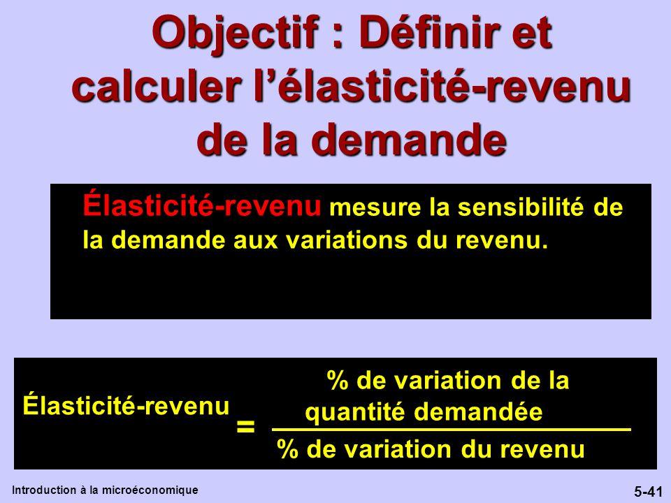 5-41 Introduction à la microéconomique Objectif : Définir et calculer lélasticité-revenu de la demande Élasticité-revenu mesure la sensibilité de la d