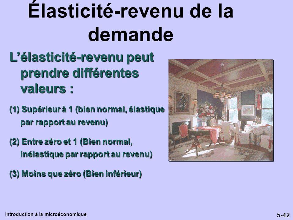 5-42 Introduction à la microéconomique Élasticité-revenu de la demande Lélasticité-revenu peut prendre différentes valeurs : (1) Supérieur à 1 (bien n