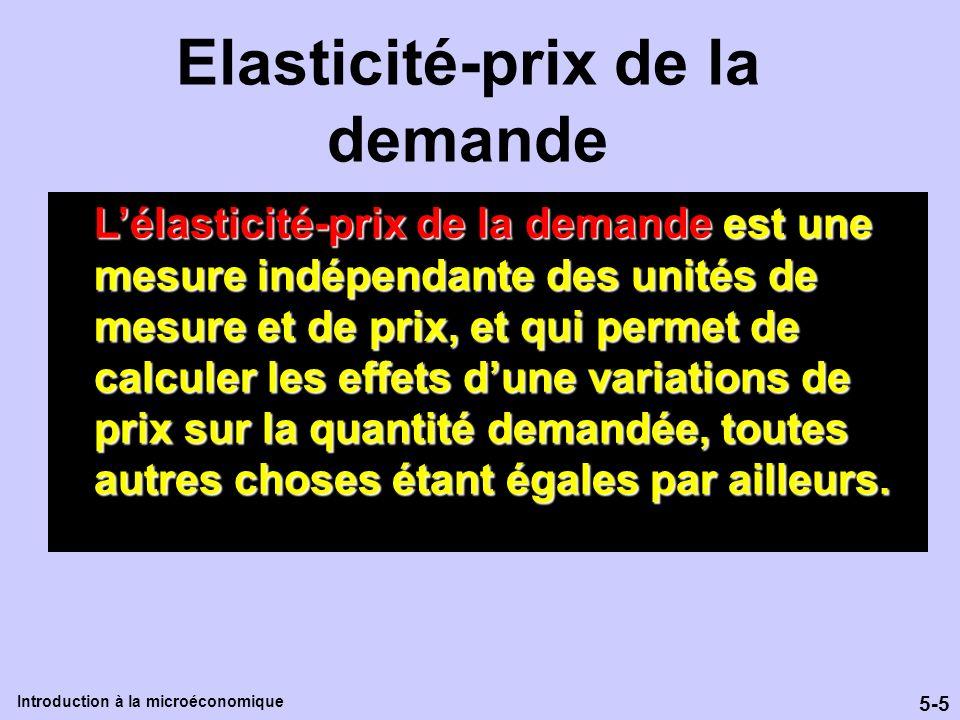 5-5 Introduction à la microéconomique Lélasticité-prix de la demande est une mesure indépendante des unités de mesure et de prix, et qui permet de cal