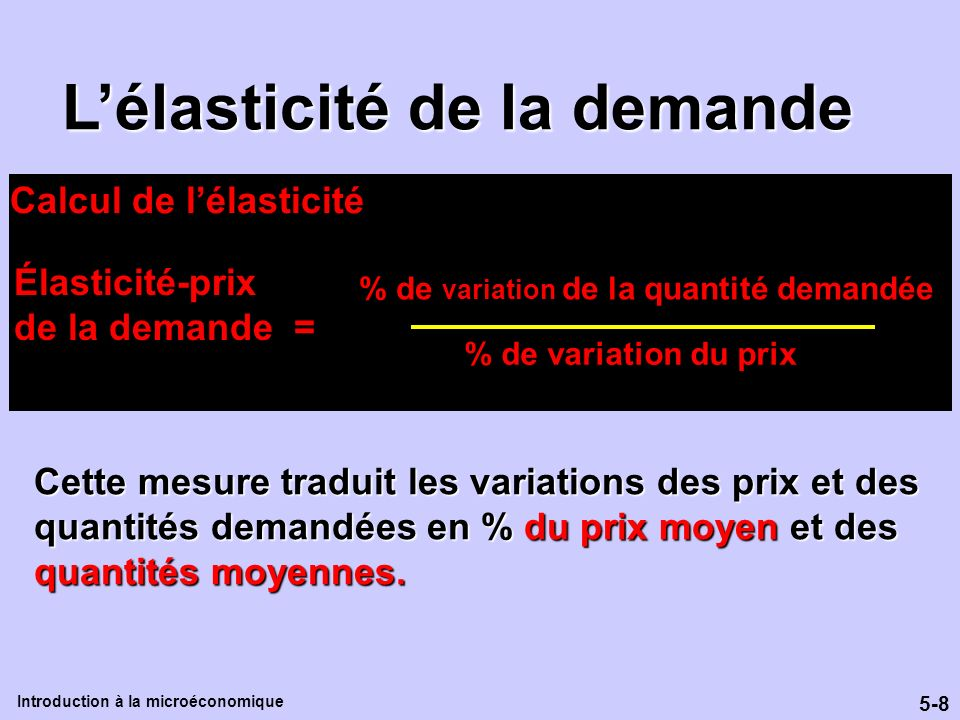 5-8 Introduction à la microéconomique Lélasticité de la demande Cette mesure traduit les variations des prix et des quantités demandées en % du prix m
