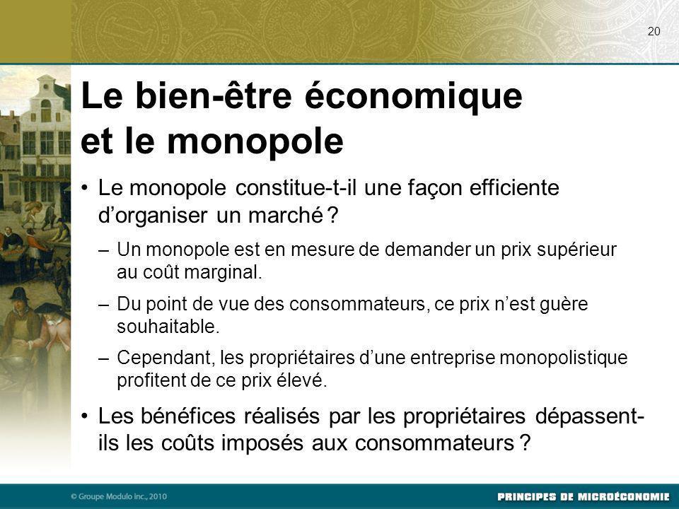 Le monopole constitue-t-il une façon efficiente dorganiser un marché ? –Un monopole est en mesure de demander un prix supérieur au coût marginal. –Du