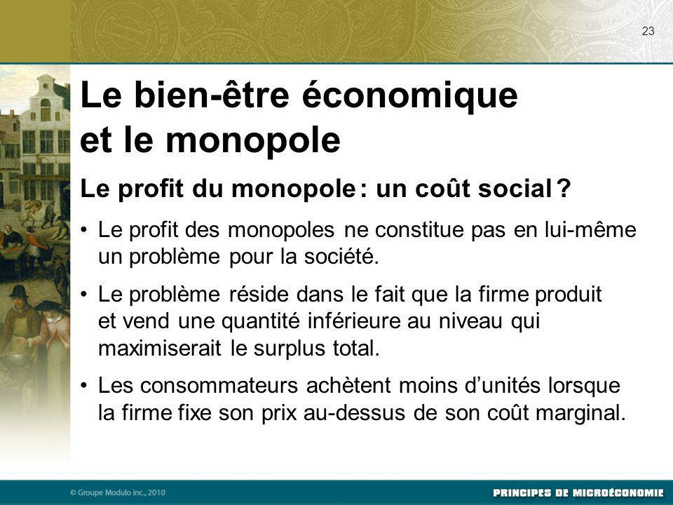 Le profit du monopole : un coût social ? Le profit des monopoles ne constitue pas en lui-même un problème pour la société. Le problème réside dans le