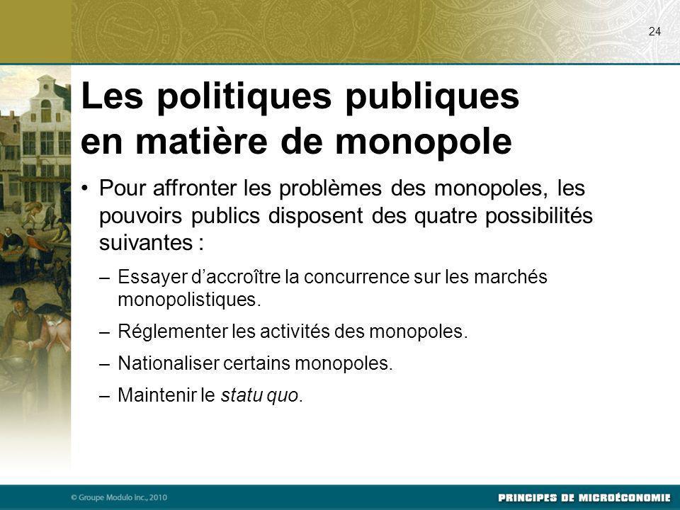Pour affronter les problèmes des monopoles, les pouvoirs publics disposent des quatre possibilités suivantes : –Essayer daccroître la concurrence sur