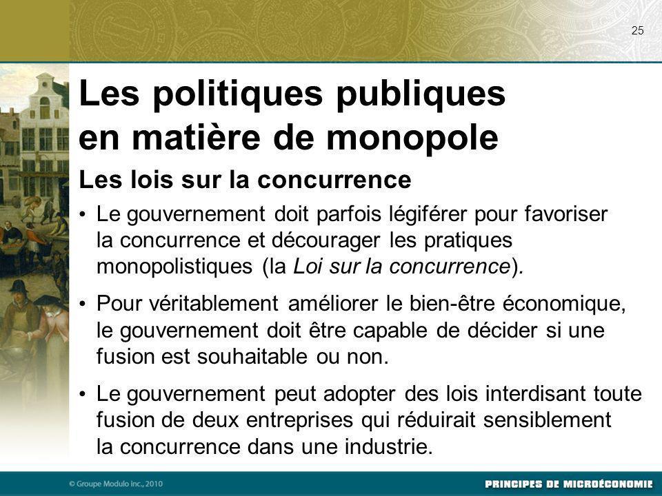 Les lois sur la concurrence Le gouvernement doit parfois légiférer pour favoriser la concurrence et décourager les pratiques monopolistiques (la Loi s