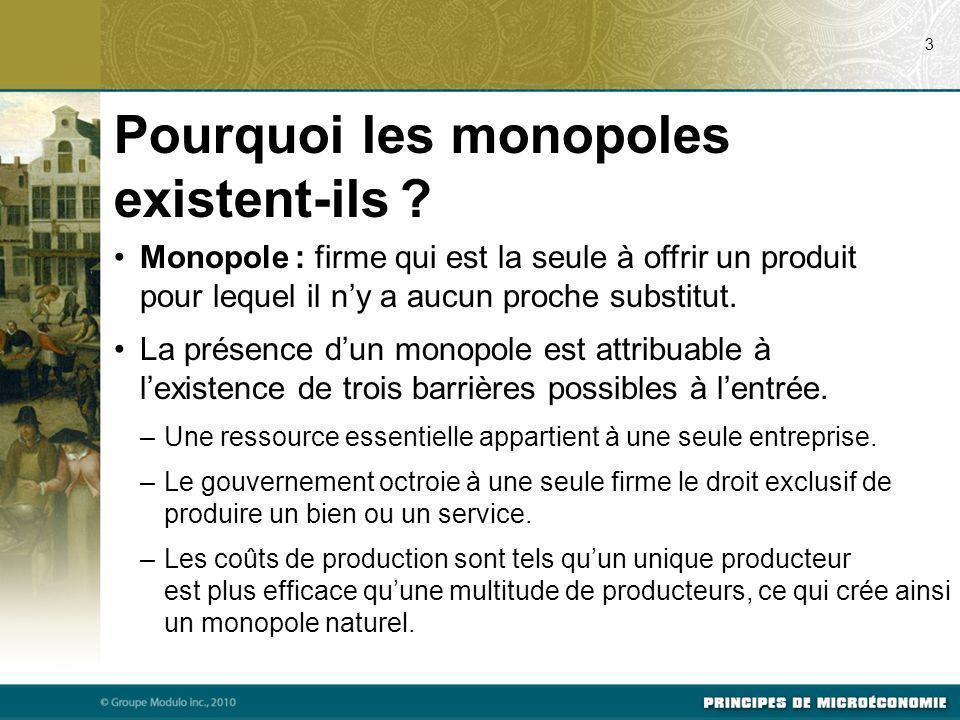 Monopole : firme qui est la seule à offrir un produit pour lequel il ny a aucun proche substitut. La présence dun monopole est attribuable à lexistenc