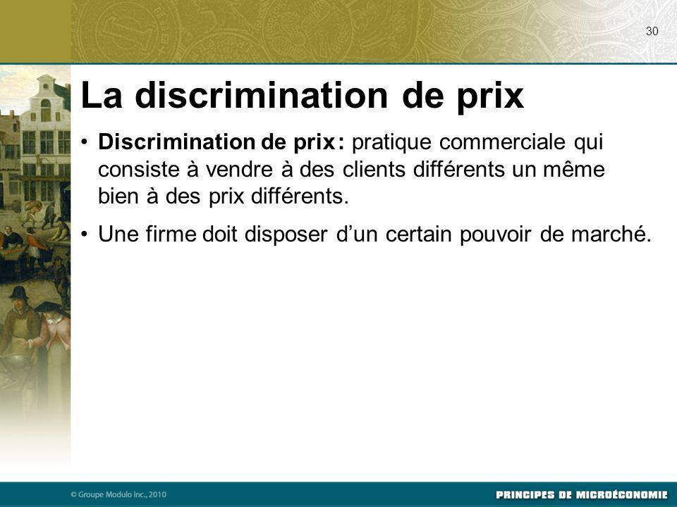Discrimination de prix : pratique commerciale qui consiste à vendre à des clients différents un même bien à des prix différents. Une firme doit dispos