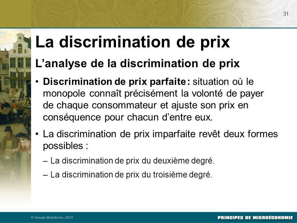 Lanalyse de la discrimination de prix Discrimination de prix parfaite : situation où le monopole connaît précisément la volonté de payer de chaque con