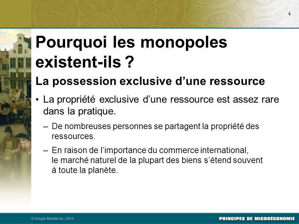 Les monopoles créés par le gouvernement Dans de nombreux cas, les monopoles dérivent dune décision gouvernementale octroyant à un individu ou à une entreprise le droit exclusif de vendre un bien ou un service.