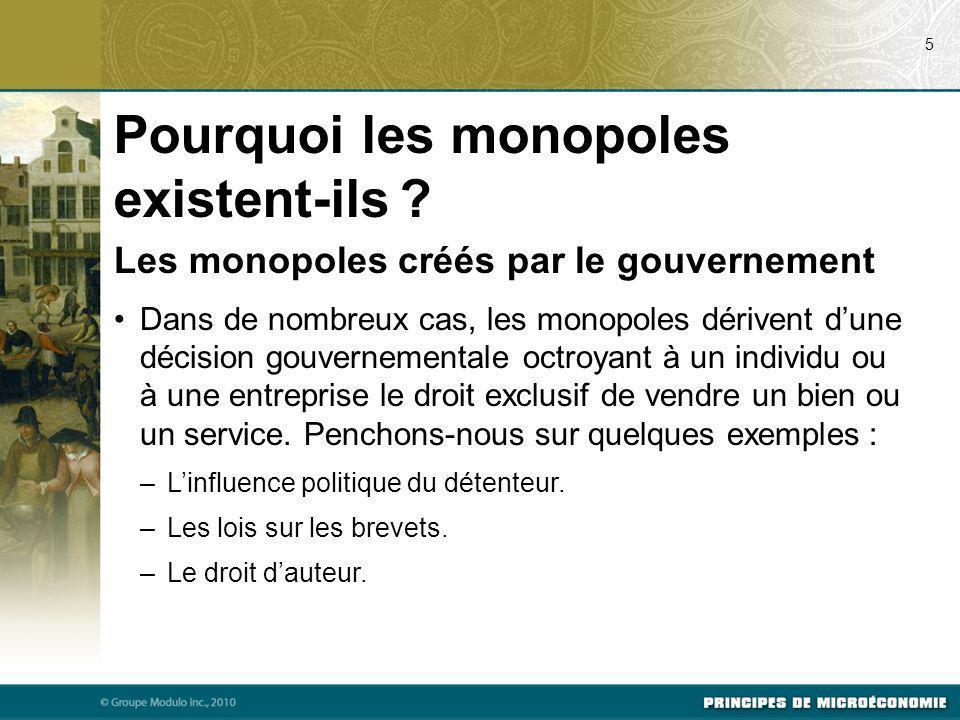 Les monopoles créés par le gouvernement Dans de nombreux cas, les monopoles dérivent dune décision gouvernementale octroyant à un individu ou à une en