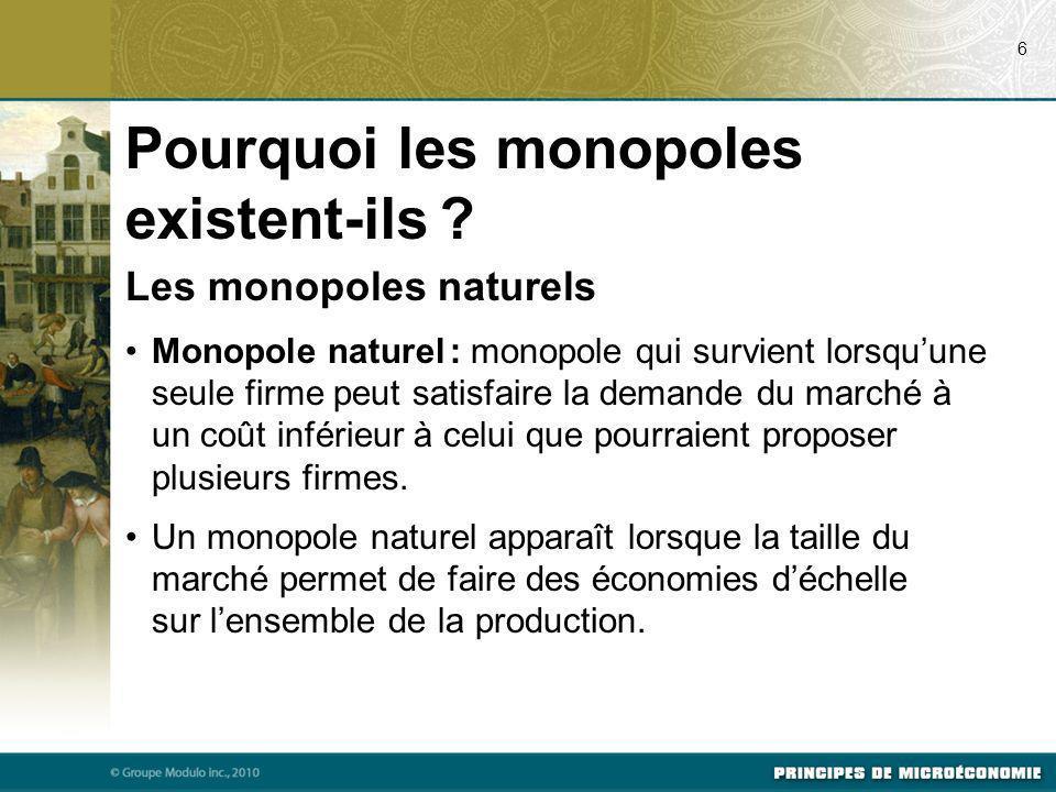 Les monopoles naturels Monopole naturel : monopole qui survient lorsquune seule firme peut satisfaire la demande du marché à un coût inférieur à celui