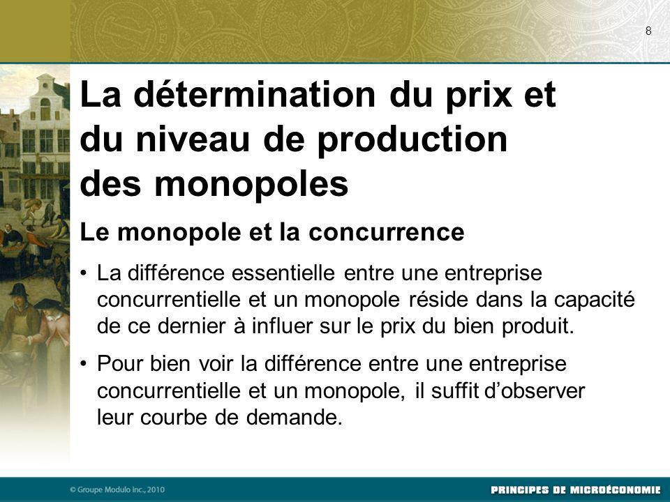 Le monopole et la concurrence La différence essentielle entre une entreprise concurrentielle et un monopole réside dans la capacité de ce dernier à in