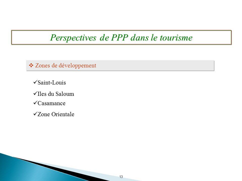 13 Perspectives de PPP dans le tourisme Zones de développement Iles du Saloum Iles du Saloum Saint-Louis Saint-Louis Casamance Casamance Zone Oriental